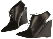 AUTH Cristian Dior Black Leather Wedge Lace-up Shoes 37.5