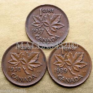 CANADA-1937-1938-1939-GEORGE-VI-1-CENT-SET-3-COINS-COPPER