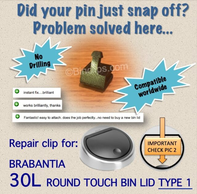 Brabantia Touch Bin 30 L Flat Top.Repair Fix Bin Lid Pin Striker 30l Brabantia Touch Bin Trash Can No Drill Type1