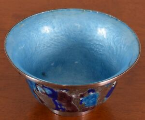 Antique-Chinese-Cloisonne-Enamel-Silver-Bowl-Qing-Dynasty