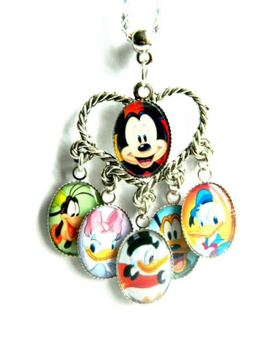 DISNEY CHARACTERS MULTI CHARM NECKLACE PENDANT SILVER TONE