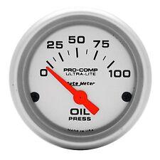"Auto Meter 4327 Ultra-Lite Electric Oil Pressure Gauge 2-1/16"" (52mm) 0-100 psi"