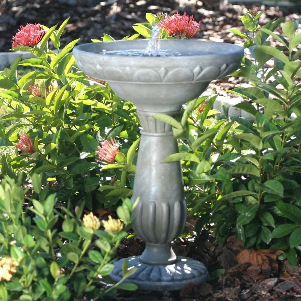 Outdoor Bird Bath Water Fountain Solar Ed Garden Backyard Patio Birdbath