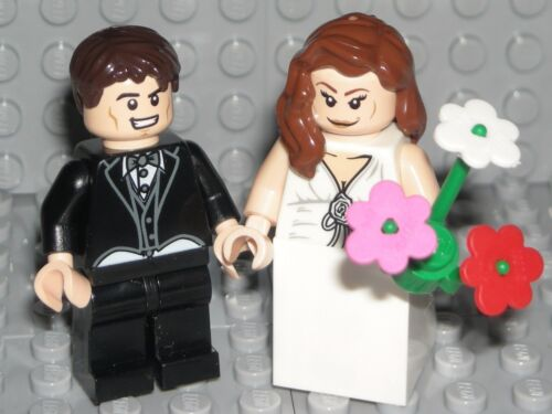 LEGO BRIDE GROOM MINIFIGURES Flesh Figures Brown Hair WEDDING CAKE TOPPER NEW