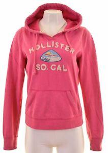 Hollister-Femme-Sweat-a-Capuche-Pull-Taille-16-large-en-coton-rose-BJ09