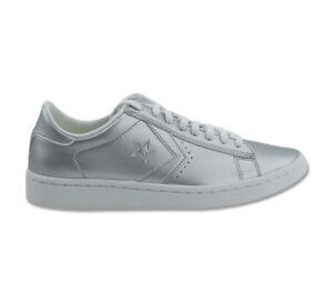 Details zu Converse Schuhe Sneaker Pro Leather LP OX 555947C Silber Glitzer Damen 37 42