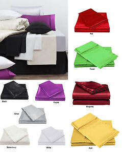 300TC-Luxury-Satin-Silk-Soft-Fitted-Sheet-Set-Single-Double-Queen-King