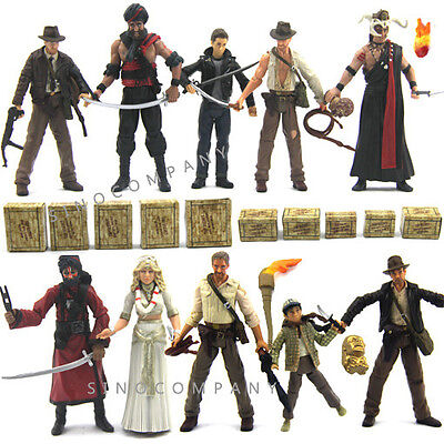Lot of 10 Indiana Jones Action Figures with gun sword Accessory toy gift