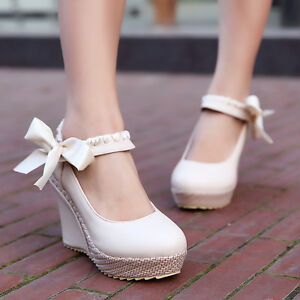 Womens-Wedge-Heel-Mary-Janes-Bow-Lolita-Leather-Pumps-Candy-Shoes-Boot-Plus-Size