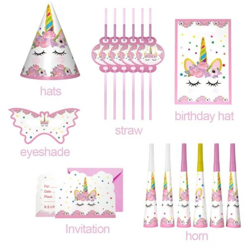 Unicorn Theme Party Decor Supplies Kids Birthday Paper Cup Plate Hat Box Banner