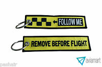 Remove Before Flight | Follow Me Embroidered Keychain | Luggage Tag | Keyring