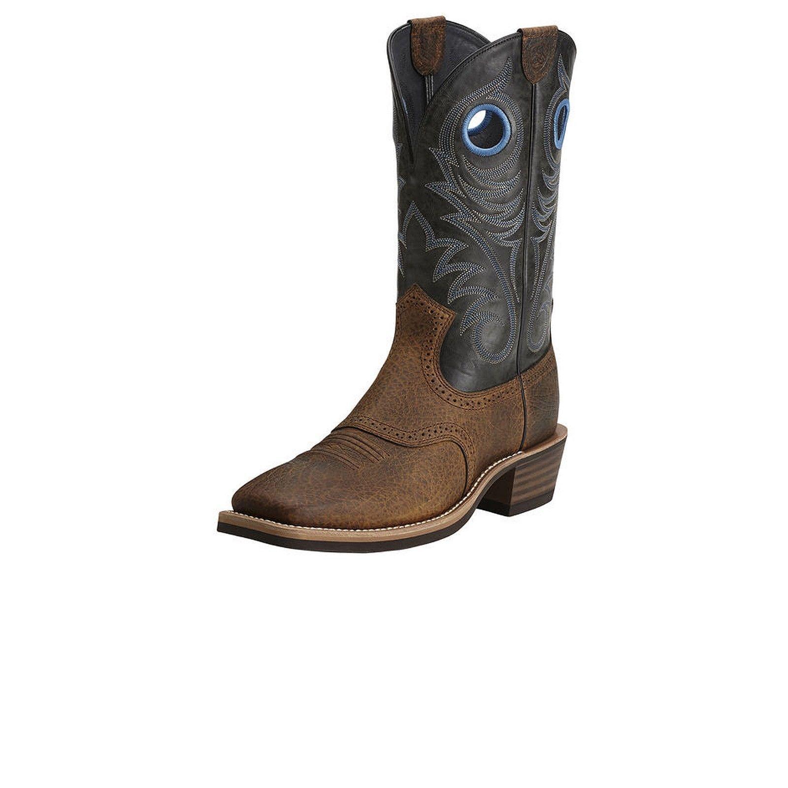 Para Hombre Ariat Heritage roughstock Wst marrón negro Plaza dedo botas 10014024 Nuevo En Caja