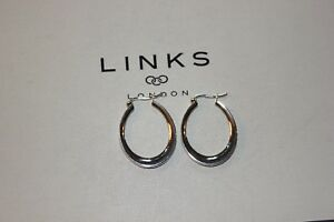 GENUINE-LINKS-OF-LONDON-STERLING-SILVER-ESSENTIALS-GRADUATED-OVAL-HOOP-EARRINGS
