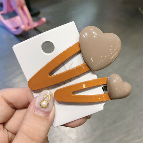 2Pcs Women Candy Heart Acrylic Barrette Hair Clip Stick Hairpin Hair Accessory