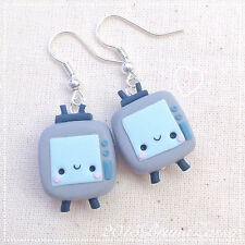 Orecchini Televisore ~ Cute Chibi Kawaii Vintage Tv Earrings Fimo Polymer Clay