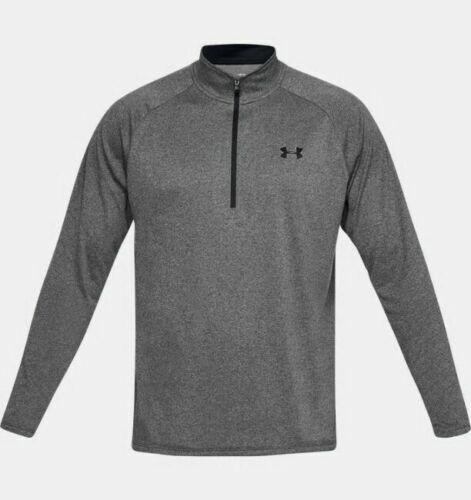 Under Armour 1328495409LG Mens L Black//Gray Long Sleeve 1//2 Zip Athletic Shirt