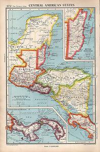 Details about 1952 MAP ~ CENTRAL AMERICAN STATES ~ GUATEMALA HONDURAS  NICARAGUA PANAMA