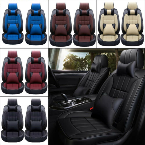 Leather 5-Seat Car Seat Cover Protector+Cushions Full Set+Pillow Universal USA