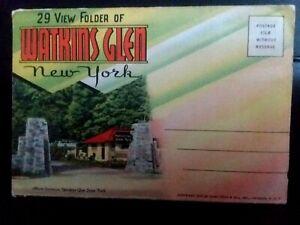 SOUVENIR-POST-CARD-NEW-YORK-WATKINS-GLEN-Post-Card-Fold-Out-c-1930-039-s