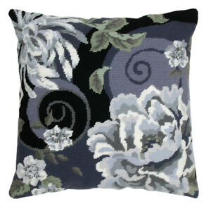 Floral-Swirl-in-Black-Anchor-Tapestry-Kit-Cushion-Living-ALR02
