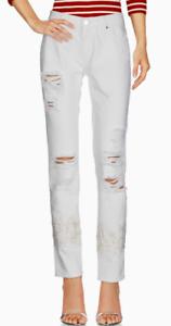 ERMANNO SCERVINO Slim Fit Lace Applique Jeans White 4 US 40 IT NWT
