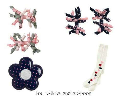 NWT Gymboree Miss Mouse Home Coming Kitty Navy Flower Hair Barrette White Tights