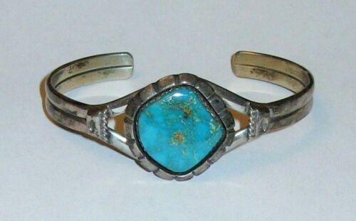 Wonderful Turquoise Navajo Silver Bracelet, Signed