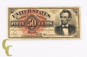 1863-Fractional-Currency-Fifty-Cents-VF-Lincoln-Fourth-4th-Issue-50c-Fr-1374