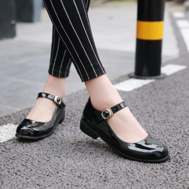 5534e40eb1511 College Girls Women Style Patent Leather Buckle Sweet Cute Mary ...