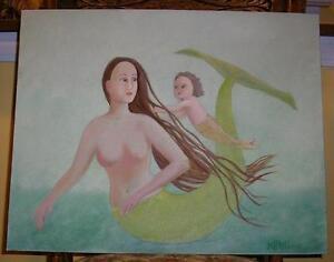 MERMAID GREEN MOTHER CHILD NAUTICAL OCEAN FOLK ART SEA SWIMMNG SWIM OIL PAINTING
