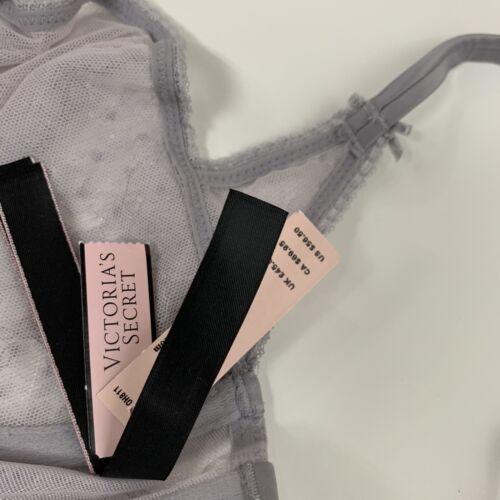 Details about  /NEW Victorias Secret Bra 32DD Unlined Balconet Floral Lace Underwire Silver