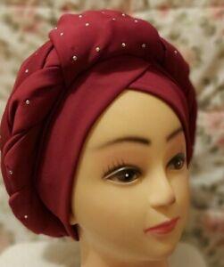 Nigeria African Women Elegant Turban cap auto gele chemo hat head covering