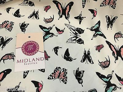 "Mint Green Butterfly print peach crepe fabric 45""  M145-1 Mtex"
