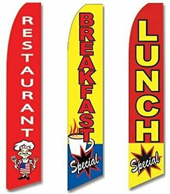 Restaurant Lunch Special Open King Swooper Feather Flag Sign Kit with Pole and Ground Spike Pack of 3