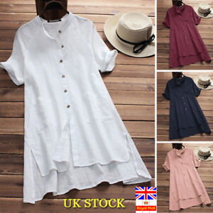 Plus-Size-Women-Retro-Half-Sleeve-Baggy-Blouse-Tunic-Tops-Autumn-T-Shirt-Dress