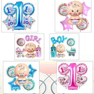 5pcs 1st Anniversaire Baby Shower Party Décoration Foil Balloon pour nouveau-né Garçon Fille