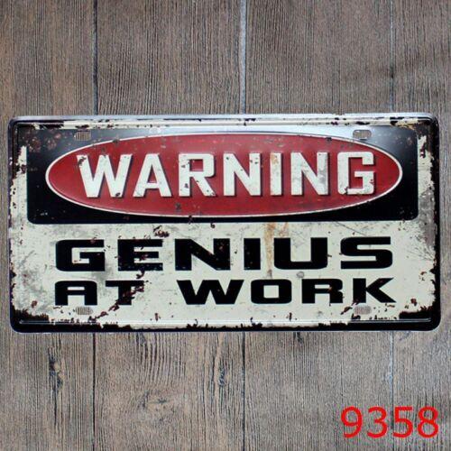 Metal Tin Sign Warning Genius at Work Décor Bar Pub Accueil Affiche CAFE ART
