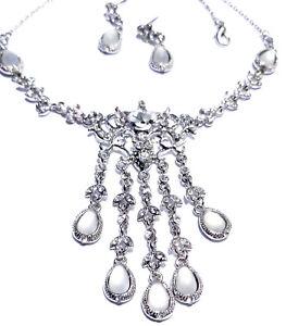 Wholesale-Jewerly-Lot-Rose-Rhinestone-Necklace-Earring-4-Sets-Prom-Bridal