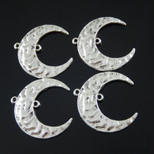 Antique Style Silver Alloy Half Moon Shape Pendant Charm Connector 20PCS 02025