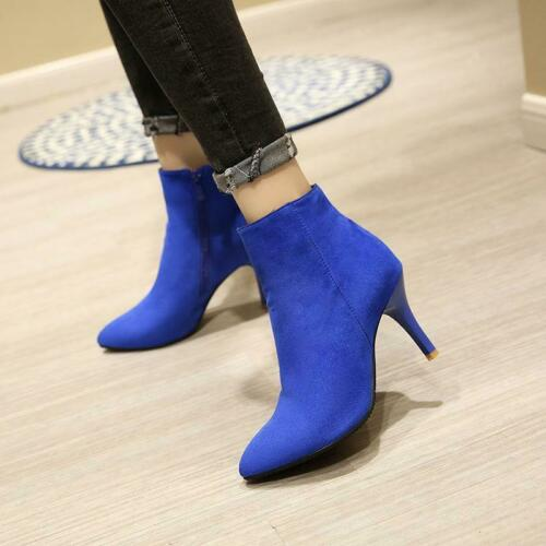 Womens Faux Suede Ankle Boots High Heels side zip Pointy Toe Zipper Shoes Pumps