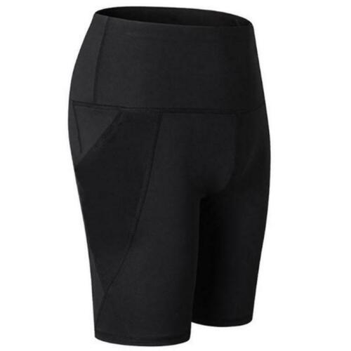 Women High Waist Workout Yoga Shorts with Side Mesh Pocket Tummy Control Tights