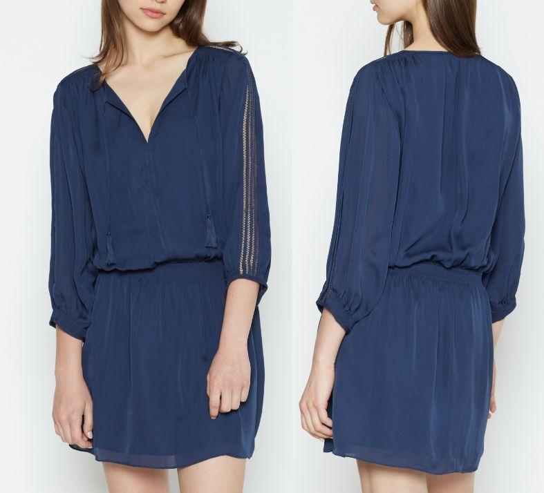 SALE JOIE BARAZ SILK DRESS DARK NAVY XS-L