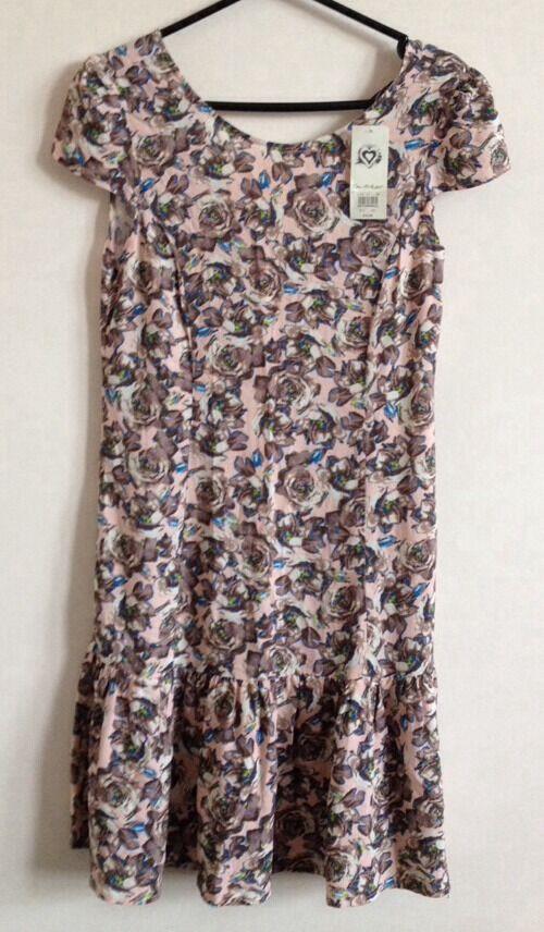 Fougueux Bnwt! Motif Fleuri Rose Taille 10 à Mancherons été Faible Retour Mini Robe Artisanat D'Art