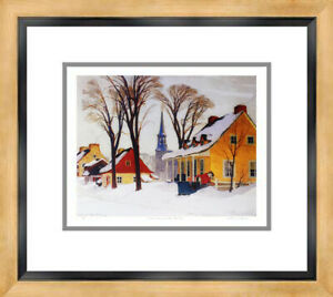 """""""Winter Morning In Baie St Paul"""" Print By Clarence Gagnon - Framed Canvas"""