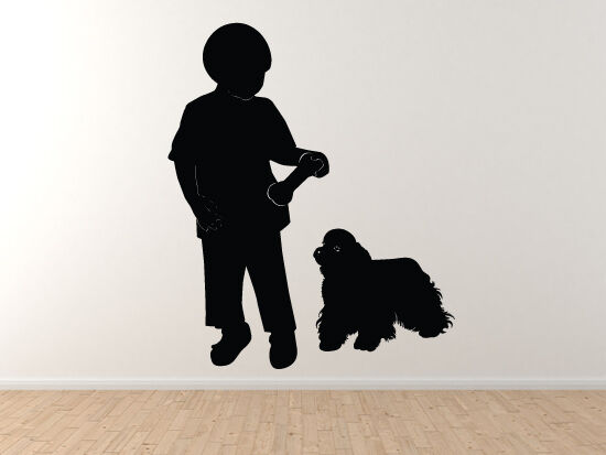 Kids and Pets - Boy and Dog Playing Version 1 - Playground - Vinyl Wall Decal