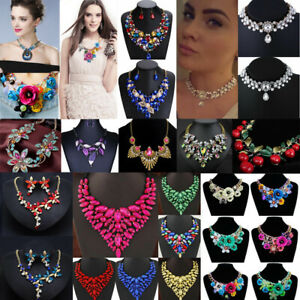 Womens-Crystal-Flower-Necklace-Bib-Choker-Chunky-Statement-Pendant-Chain-Jewelry