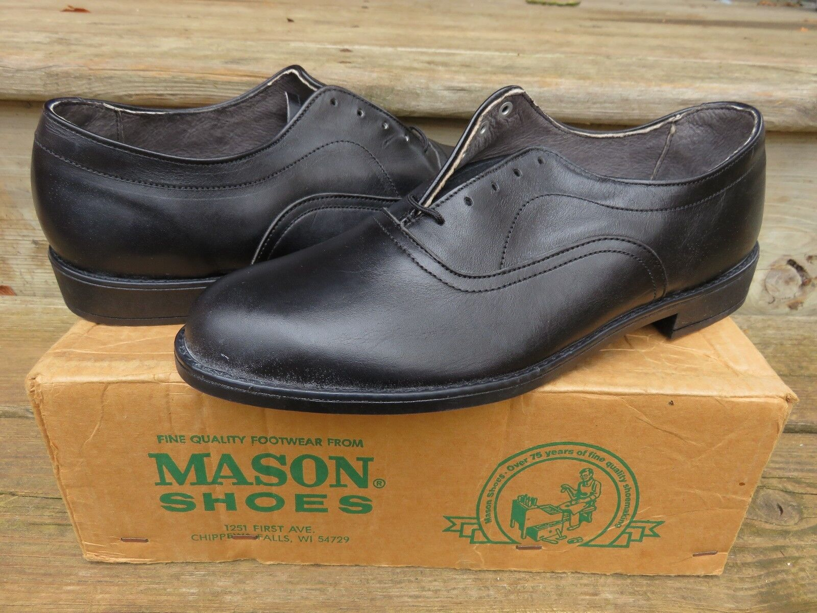 NEW Mason Oxford Casual Dress Shoes Black Sz 10 D NOS Leather Casual dress shoes
