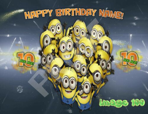 Despicable Me Birthday Cake topper Edible image sugar minions decal transfer hat