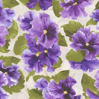 """LOVELY"" PURPLE PANSIES ON CREAM Cotton Fabric BTY for Quilting, Craft Etc"