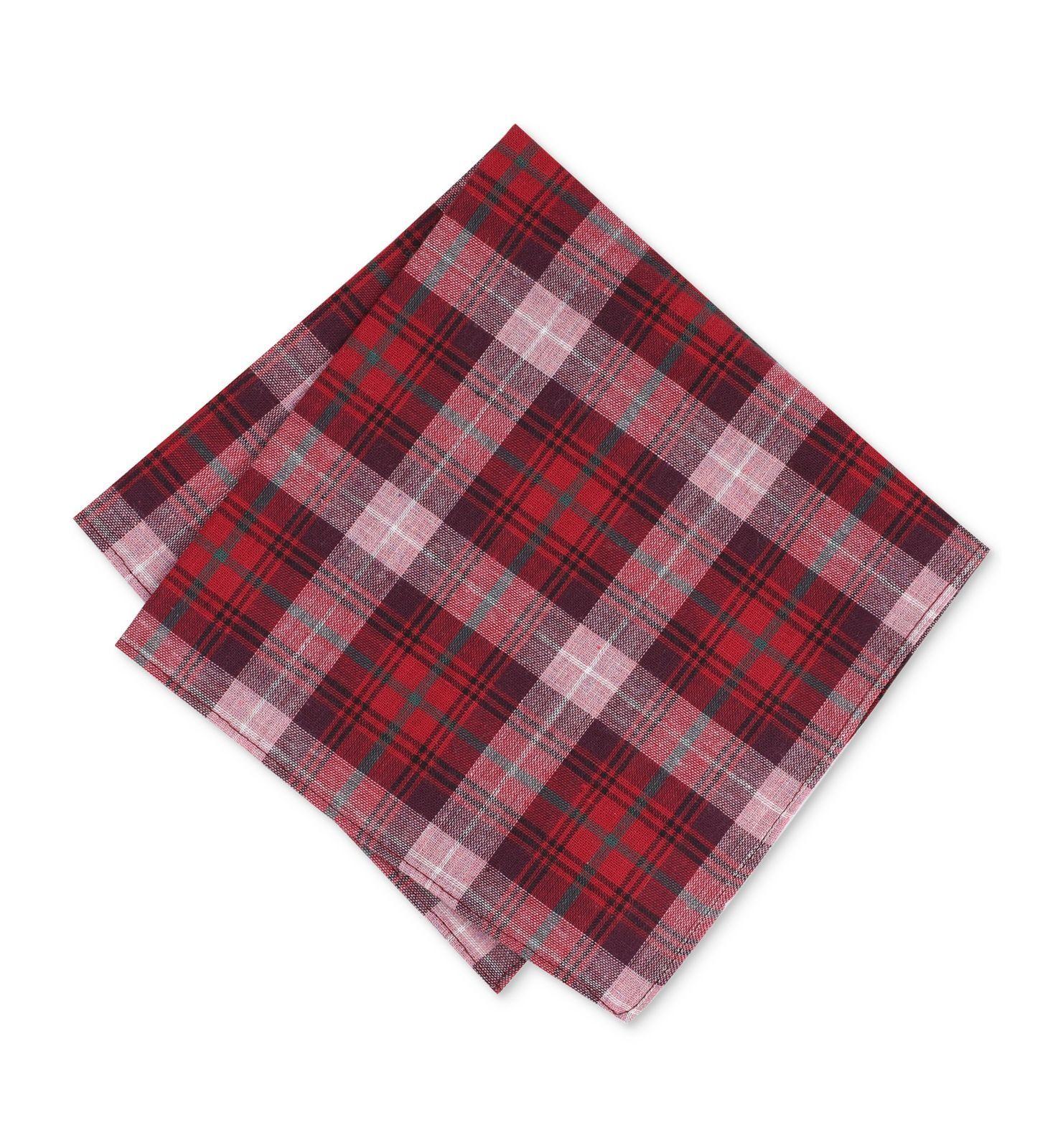 Bar Iii Men'S Red Plaid Handkerchief Classic Pocket Square Cotton Hanky
